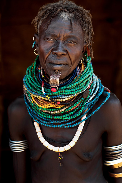 Older woman from the Nyangatom tribe. Omo valley, southern Ethiopia, 2013.