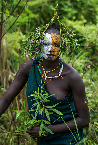 A Suri woman with body decorations.  Southern Ethiopia, 2017.