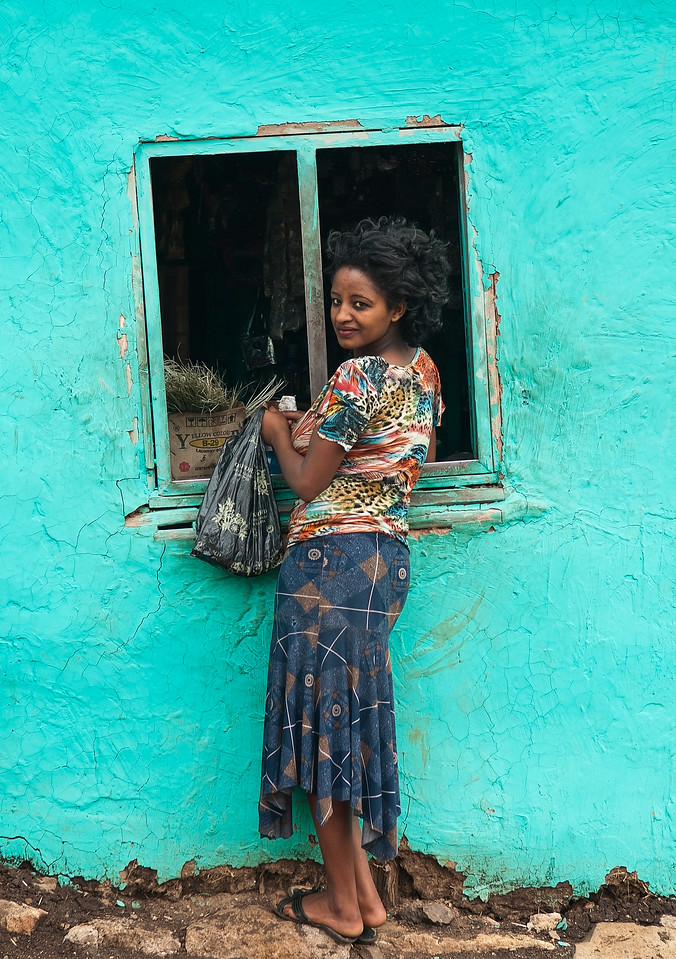 Woman at a local shop in the town of Jinka.<br /> <br /> Southern Ethiopia, 2013.