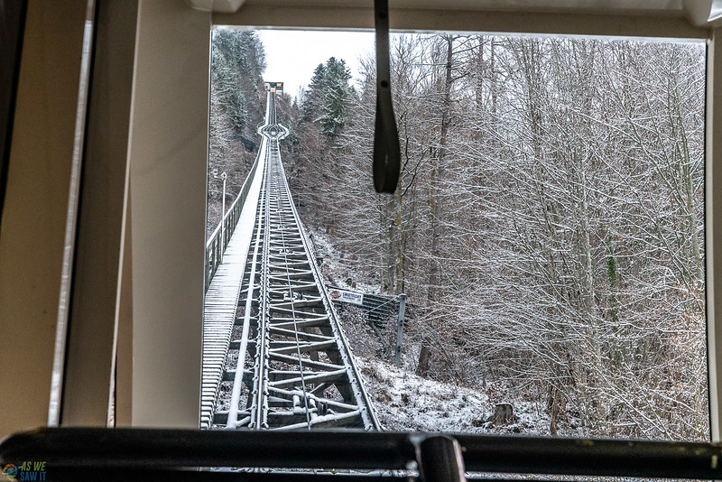 inside the cable car heading to the top of the mountain in Hallstatt