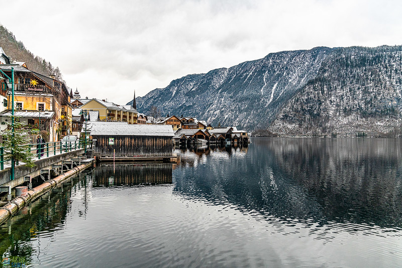 view of hallstatt from the bus stop area