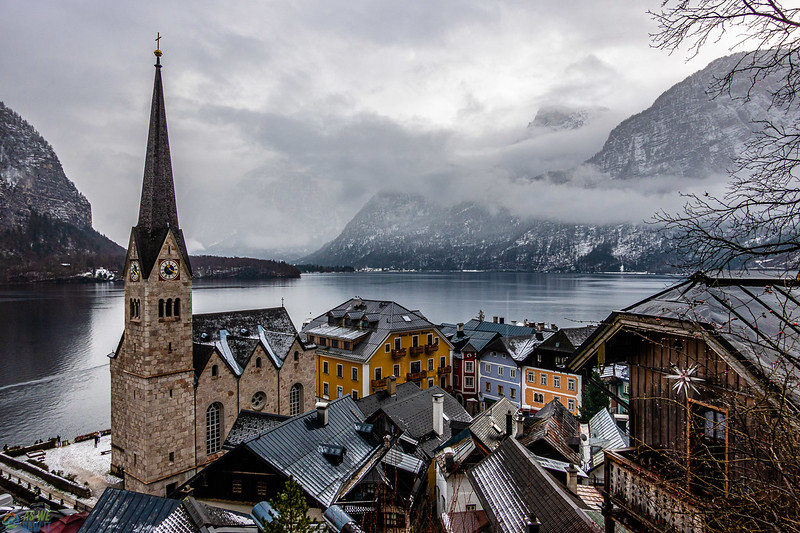 Hallstatt city viewpoint from above the city