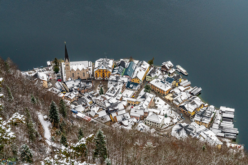 Hallstatt from the World Heritage viewpoint above.