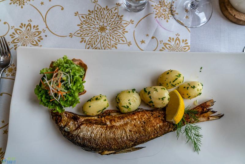 Fried lake fish at Gruener Baum hotel restaurant.