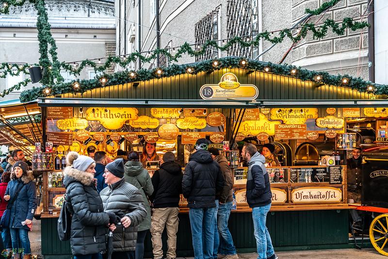 Christmas market food stall in Salzburg Austria