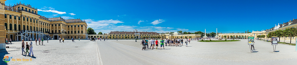 Panorama of the courtyard at Schonbrunn Palace
