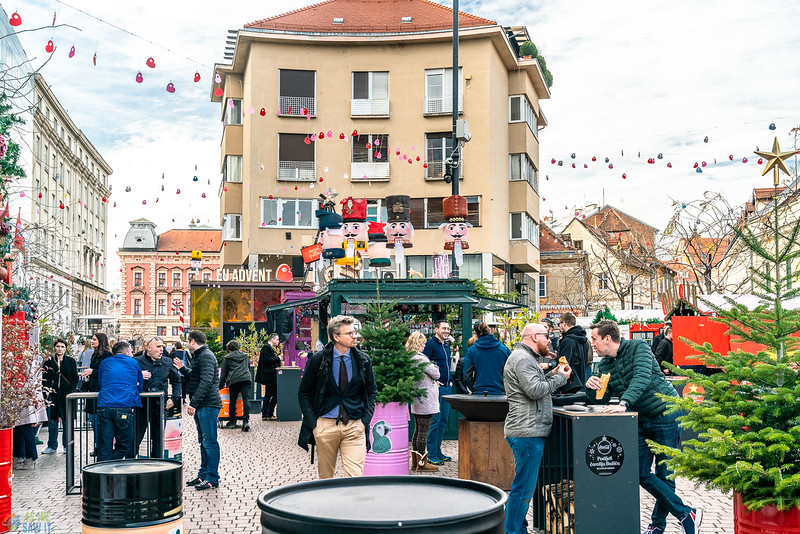 people eating at a Christmas market in Zagreb