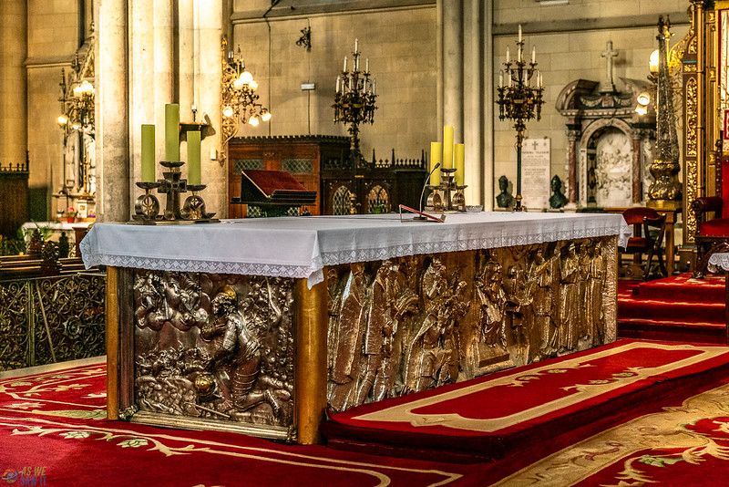 The large bas relief carved silver alter inside the zagreb cathedral.