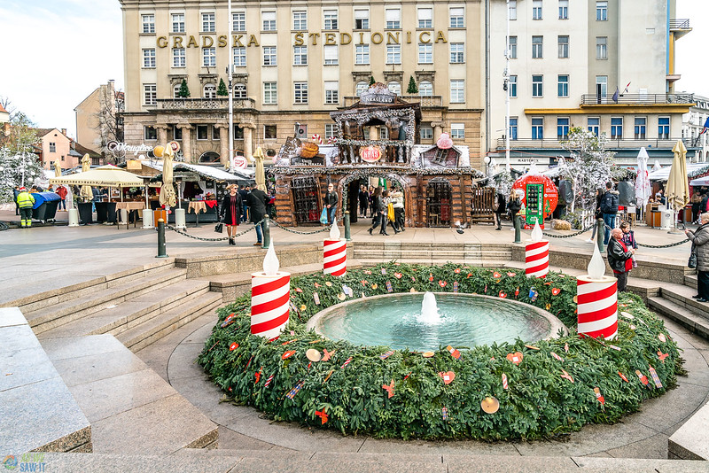 Ban Josip square decorated for the christmas markets in zagreb.