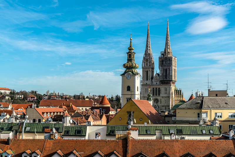 View over zagreb showing the cathedral.