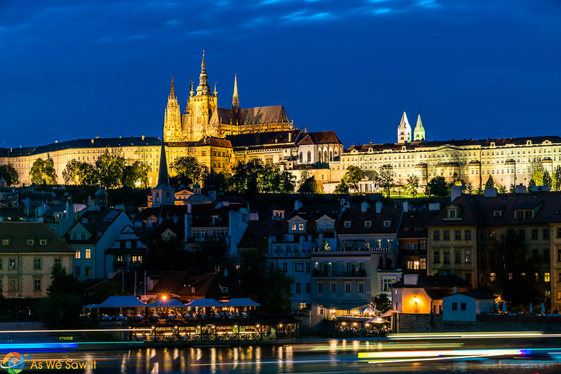 Prague castle from the charles bridge at night
