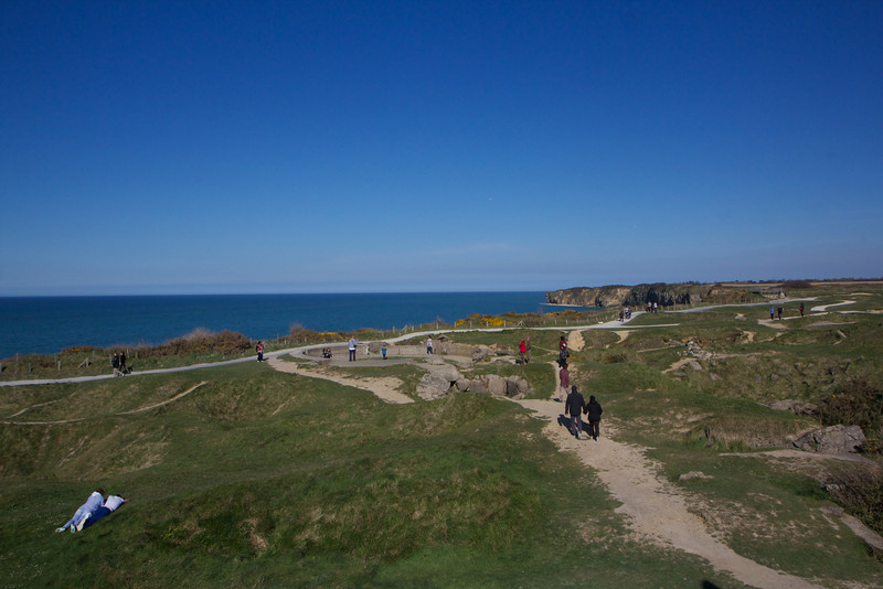 Trails from bunker to bunker on Pointe du Hoc