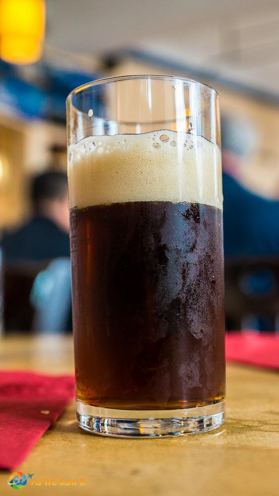 Glass of Schlenkerla urbock, a brown smoked beer