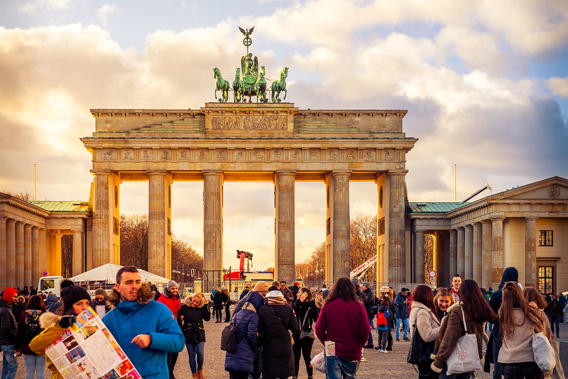 Berlin's Brandenburg Gate at Christmastime from our European winter trip