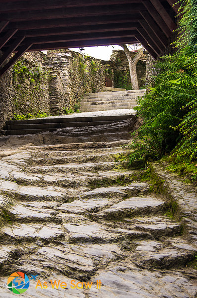 Knights Staircase is inside the entry to Marksburg Castle in Germany. One of the best German Castles to tour.