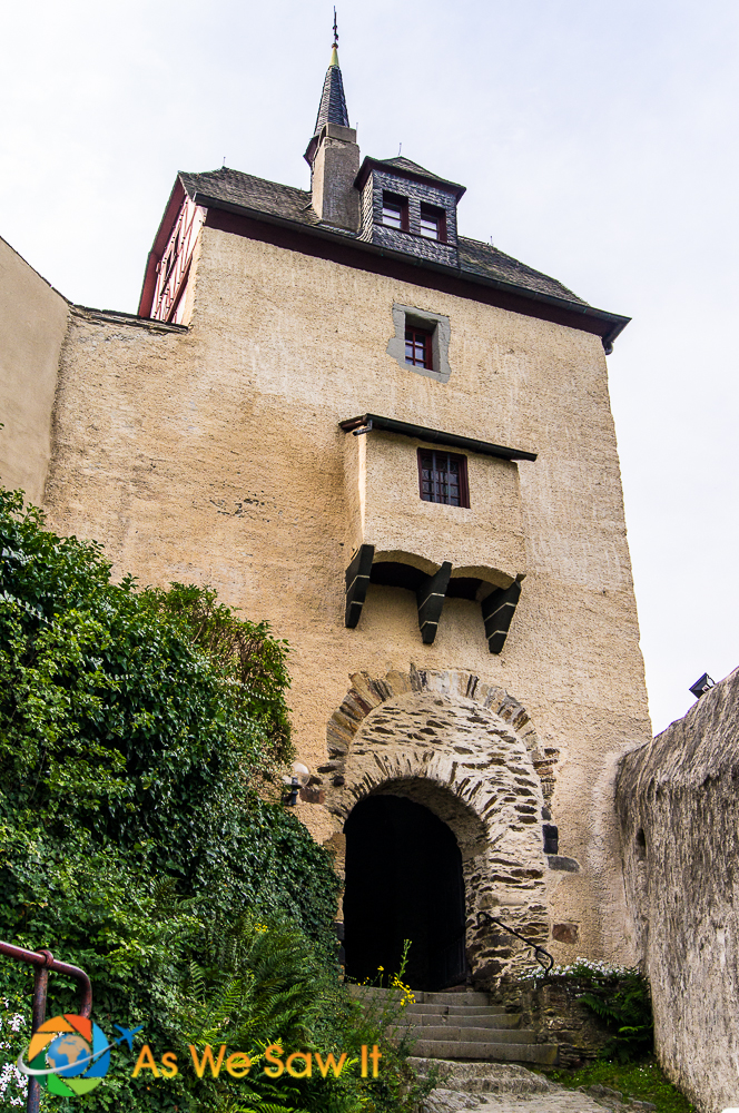 The arched entry gate, Marksburg Castle, Brauback Germany, the best preserved Rhine castle.