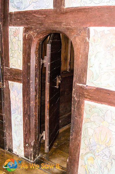 Privy door at Schloss Marksburg in Braubach. This is a castle near Koblenz Germany