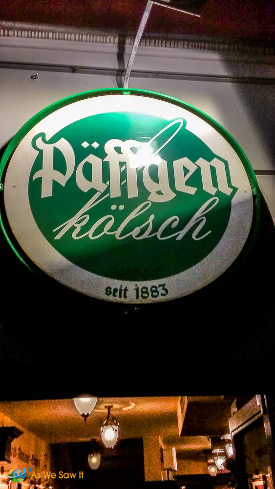 Sign for Paffgen kolsch