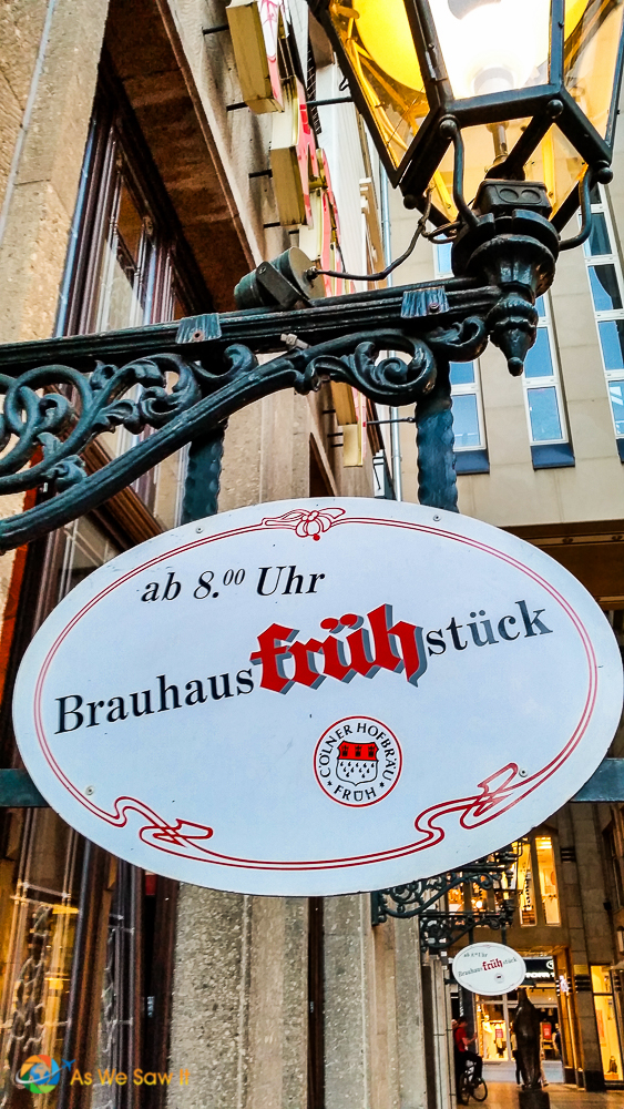 Sign for Brauhaus Fruhstuck