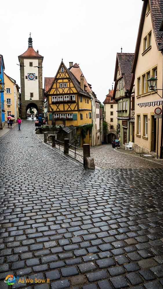 Portrait version of the iconic Rothenburg, Germany Kobolzeller Steige and Spitalgasse street conjunction