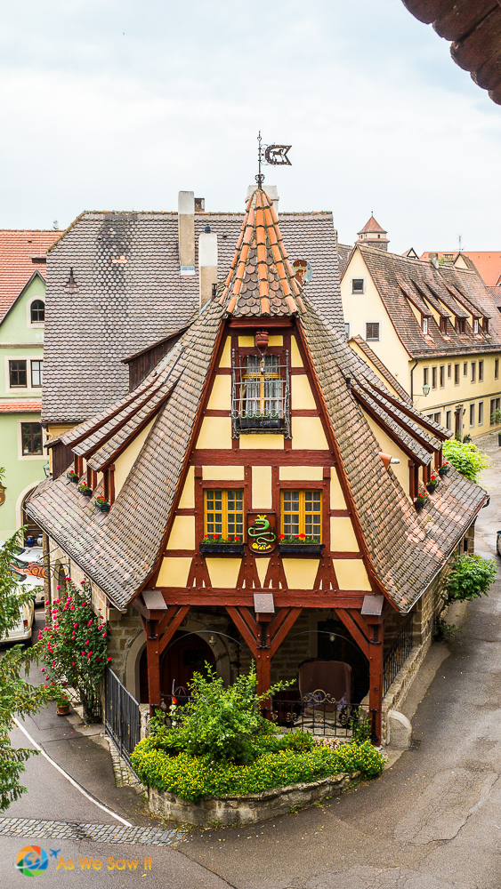I loved the angles of this house along the wall in Rothenburg.