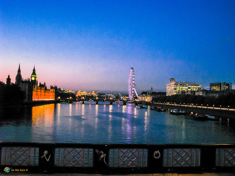 London Eye and Westminster on the Thames at sunset