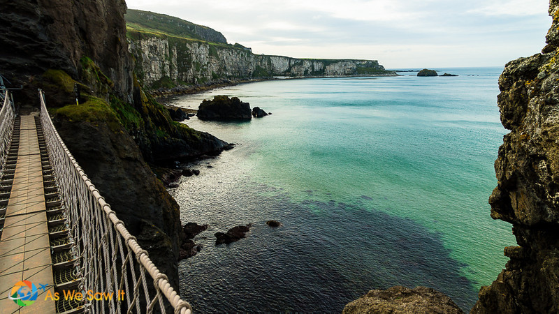 View of the water and Antrim coastline cliffs from atop the Carrick-a-rede bridge