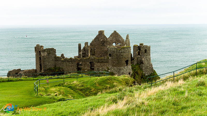 Dunluce Castle ruins with North Sea in the background