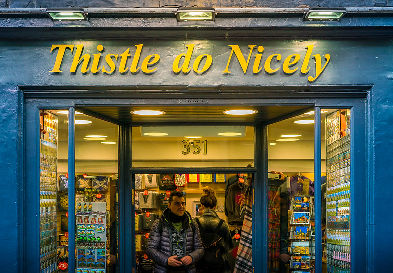 'Thistle do Nicely' play on words for a shop in Edinburgh