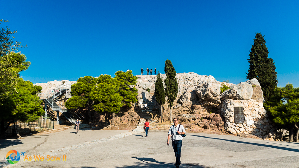 Mars Hill, on the Acropolis, where the apostle Paul addressed the elders of Athens