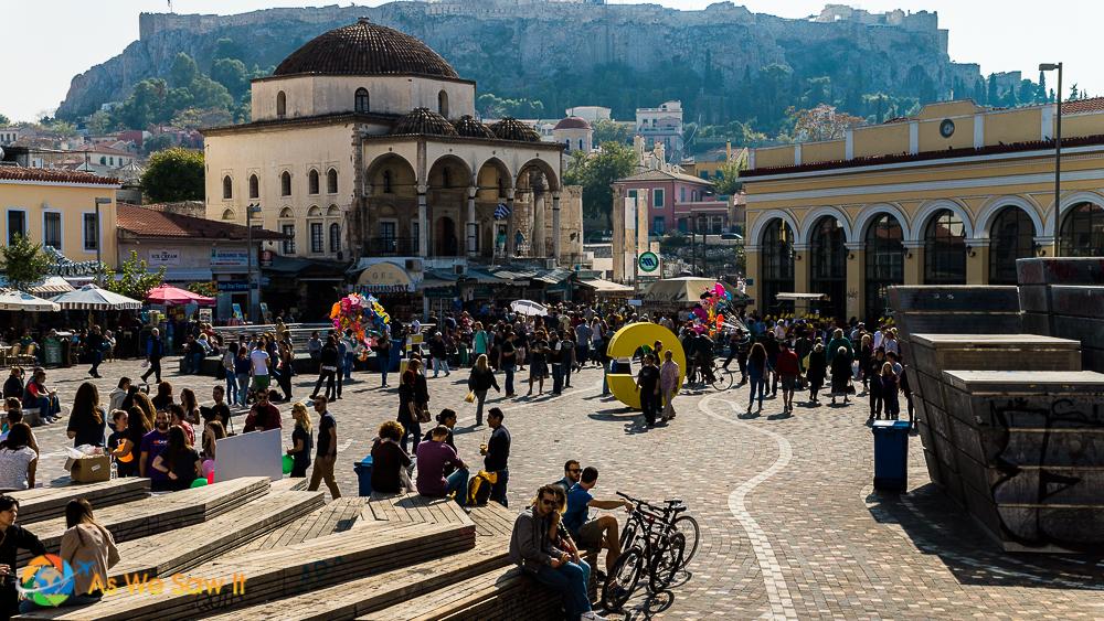 Monastiraki is a vibrant neighborhood at the base of the Acropolis in Athens