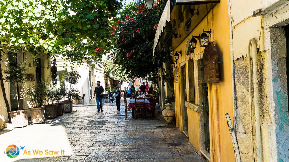 A pedestrian street in Corfu, Greece