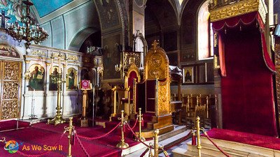 Throne, interior of Saint George Cathedral, Nafplio