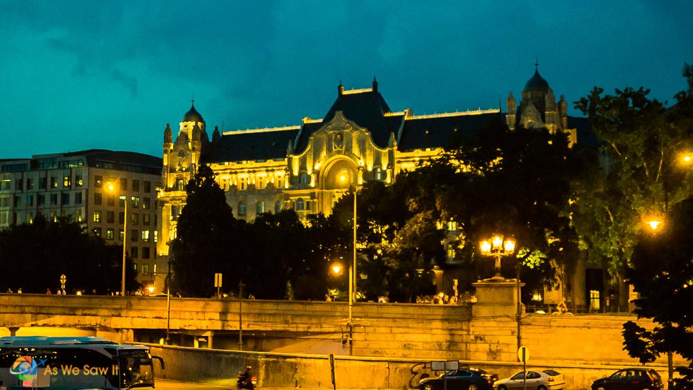 Budapest in predawn rain