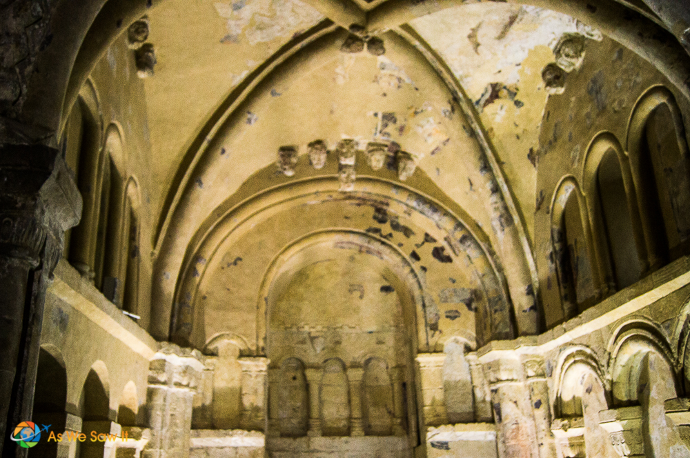 Cormac's chapel, one of the oldest parts of the Rock of Cashel, still has original frescoes