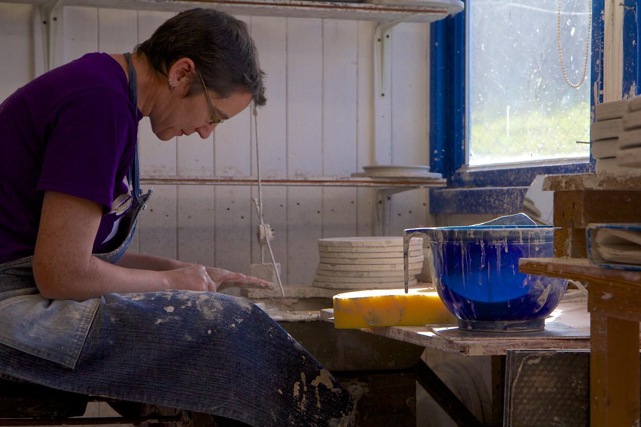 Helen works on her next piece