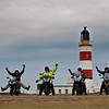 The 2012 Motoquest gang. At the most north westerly point on the Isle Of Man  - Point of Ayre lighthouse