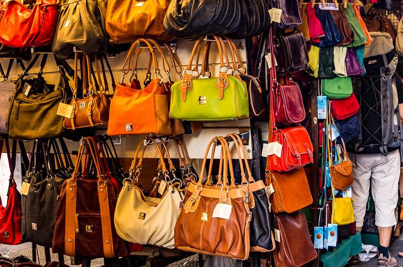 Florence is known for their Italian Leather goods like these ladies purses in every color.