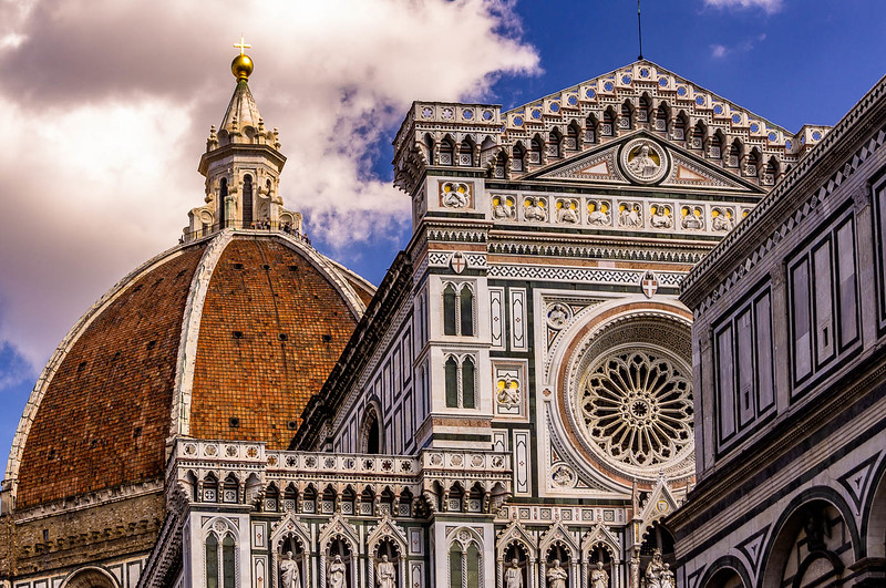 Close up of the Duomo showing all the details of its facade.