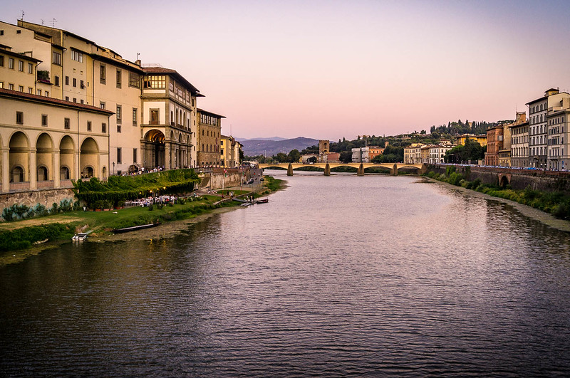 The Arno River at sunset in Florence