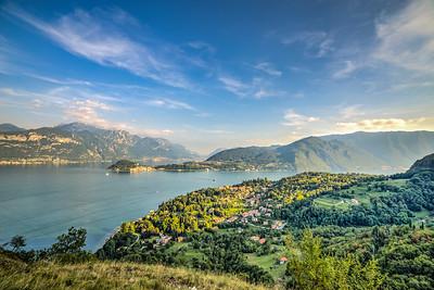 Griante & Bellagio from San Martino.  Lake Como, Italy