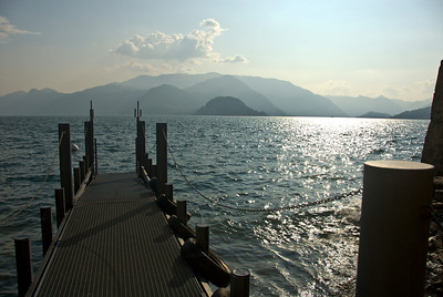 Along the dock you can see the town of Bellagio from Varenna.