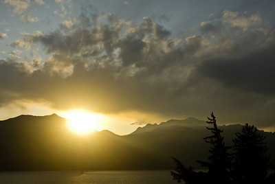 Sunrise view of the mountains from Menaggio along Lake Como.