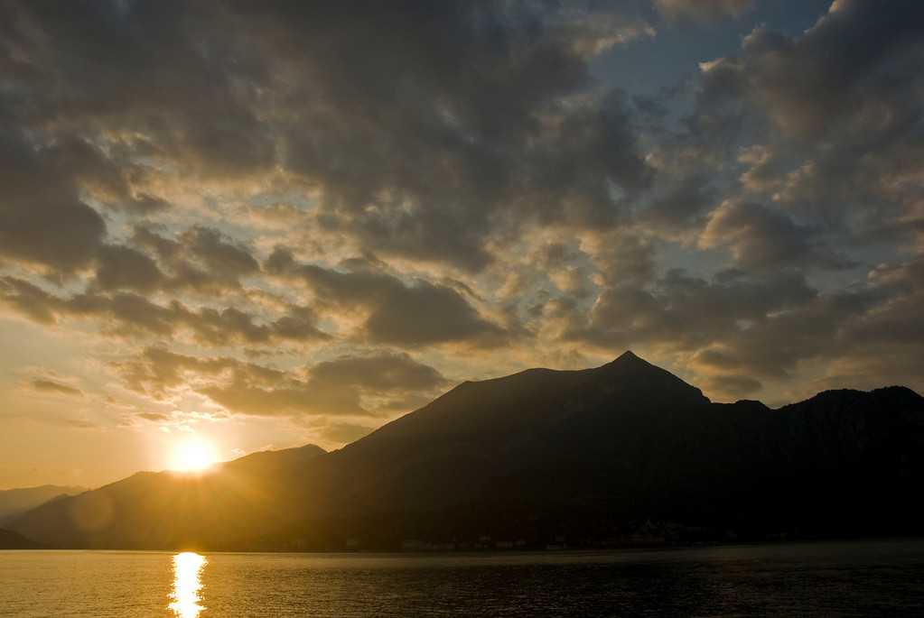 The beautiful sunset along Lake Como from Bellagio.