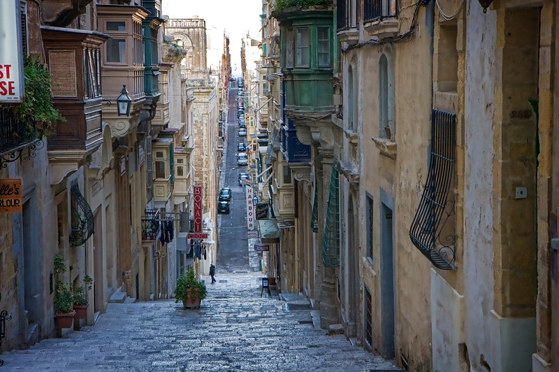 Hilly streets of Valletta