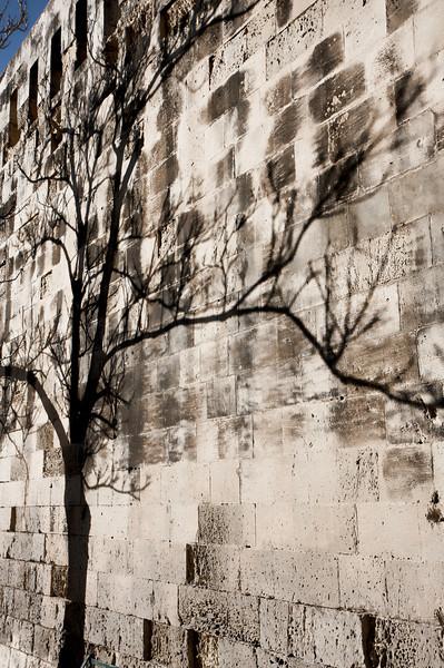 Valletta's Fort Key walls cast shadows