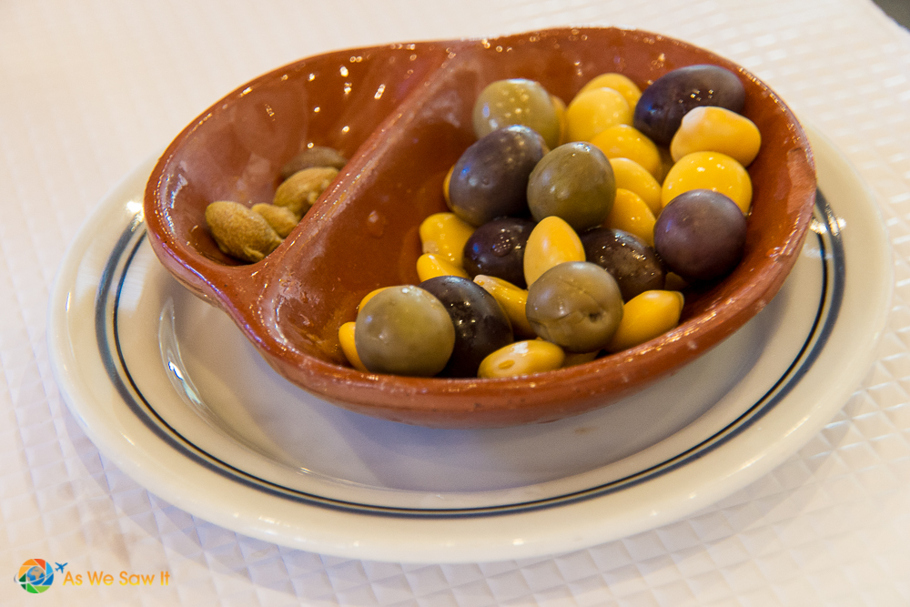 Dish of olives - typical of Portuguese and Spanish tapas
