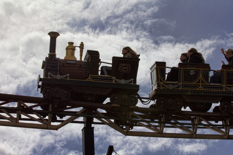 Train roller coaster in Copenhagen's Tivoli park
