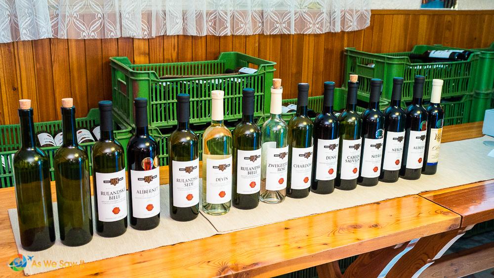Display of wines in Kamil Kukumberg basement