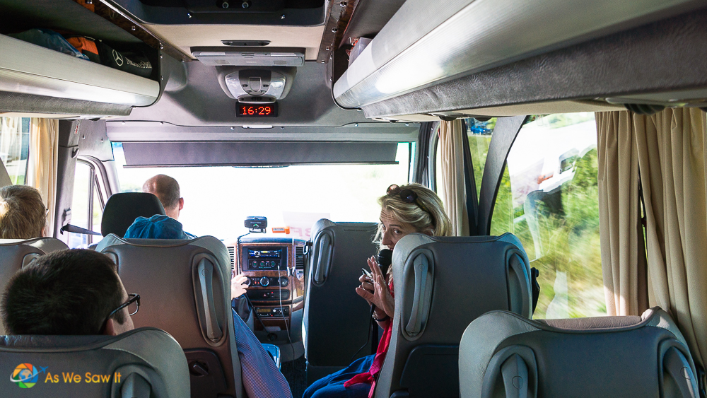 Inside the van on our way to visiting a Slovak home.
